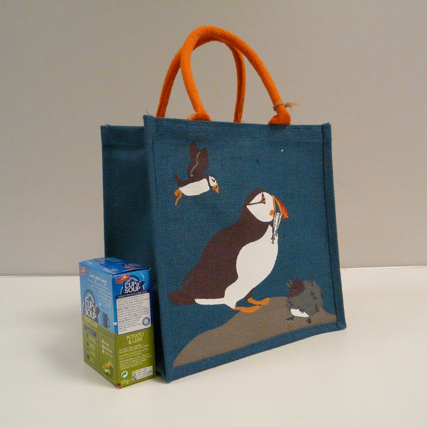 P1110509-Fair-Trade-Jute-Square-Shopping-Bag-Puffin-side-with-soup-box.jpg