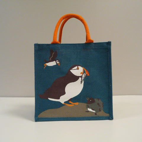 P1110510-Fair-Trade-Jute-Square-Blue-Shopping-Bag-Puffins-19703-front-view