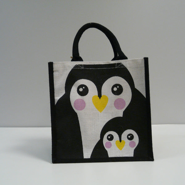 P1110511-Fair-Trade-Jute-Square-Shopping-Bag-Penguin-Black-white-front-view
