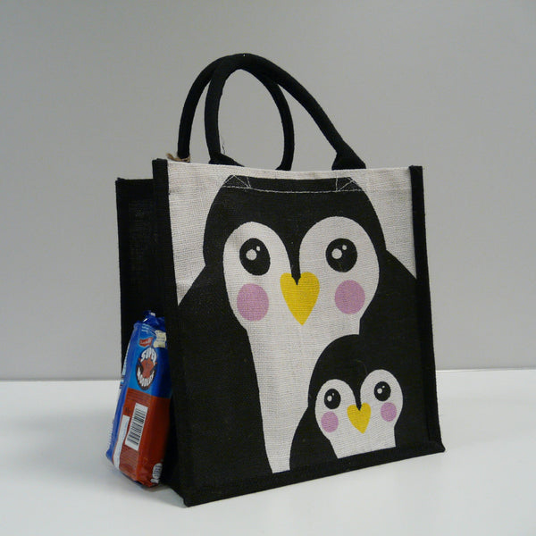 P1110512-Fair-Trade-Jute-Square-Shopping-Bag-Penguin-Black-white-1775-side-view-with-noodles.jpg
