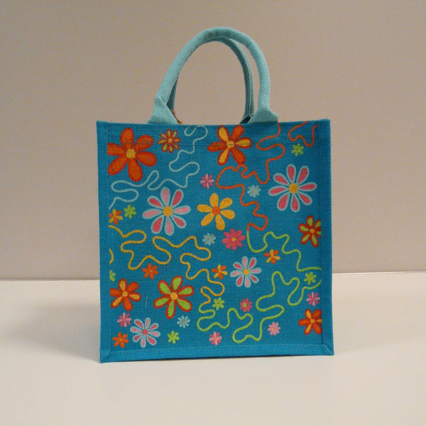 P1110513-Fair-Trade-Jute-Square-Shopping-Bag-Flowers-on-Blue-19704-front-view