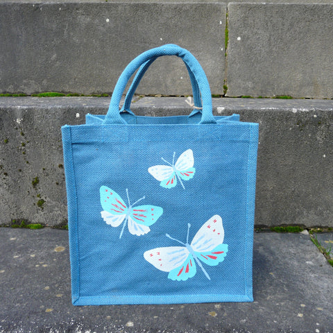 P1110524-Fair-Trade-Blue-Jute-Bag-3-Butterflies-1403-front-view