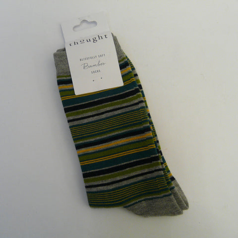 -Bamboo-Mix-7-11-Socks-Kennet-Stripe-main-colour-Grey-with-stripes-of-assorted-widths-in-green-yellow-black-teal