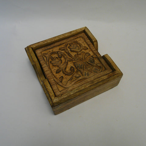 Owl Tree of Life set of 4 Carved Wood Coasters in Holder