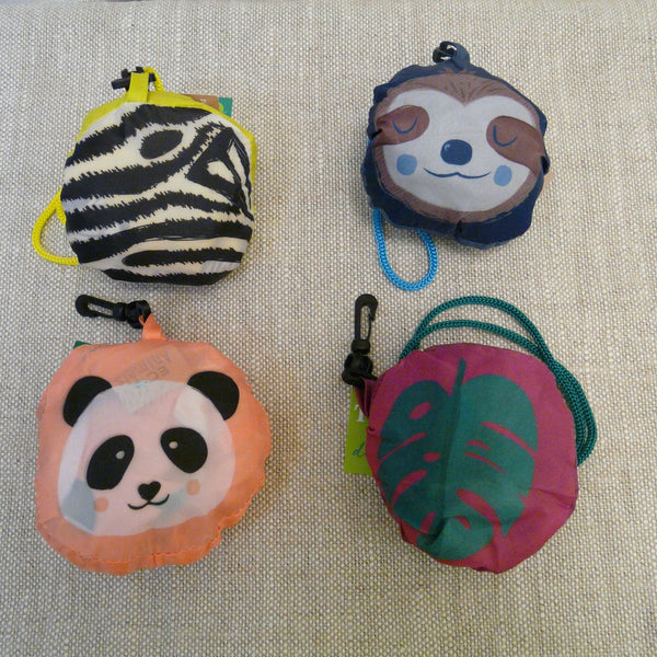 Zebra, Sloth, Panda and Toucan - Four designs of folding bags made from recycled plastic bottles