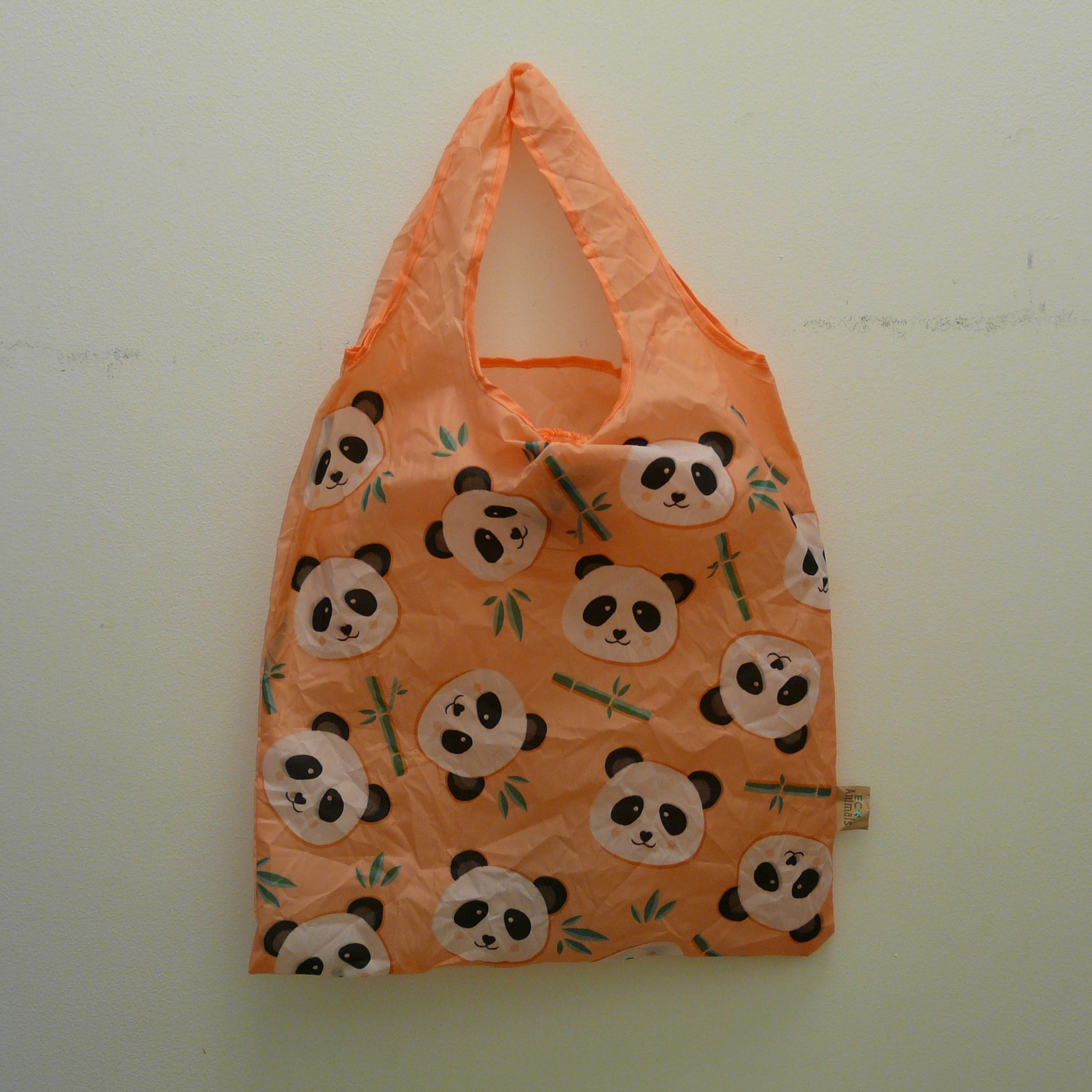 Panda Recycled Plastic Bottles Foldaway Bag