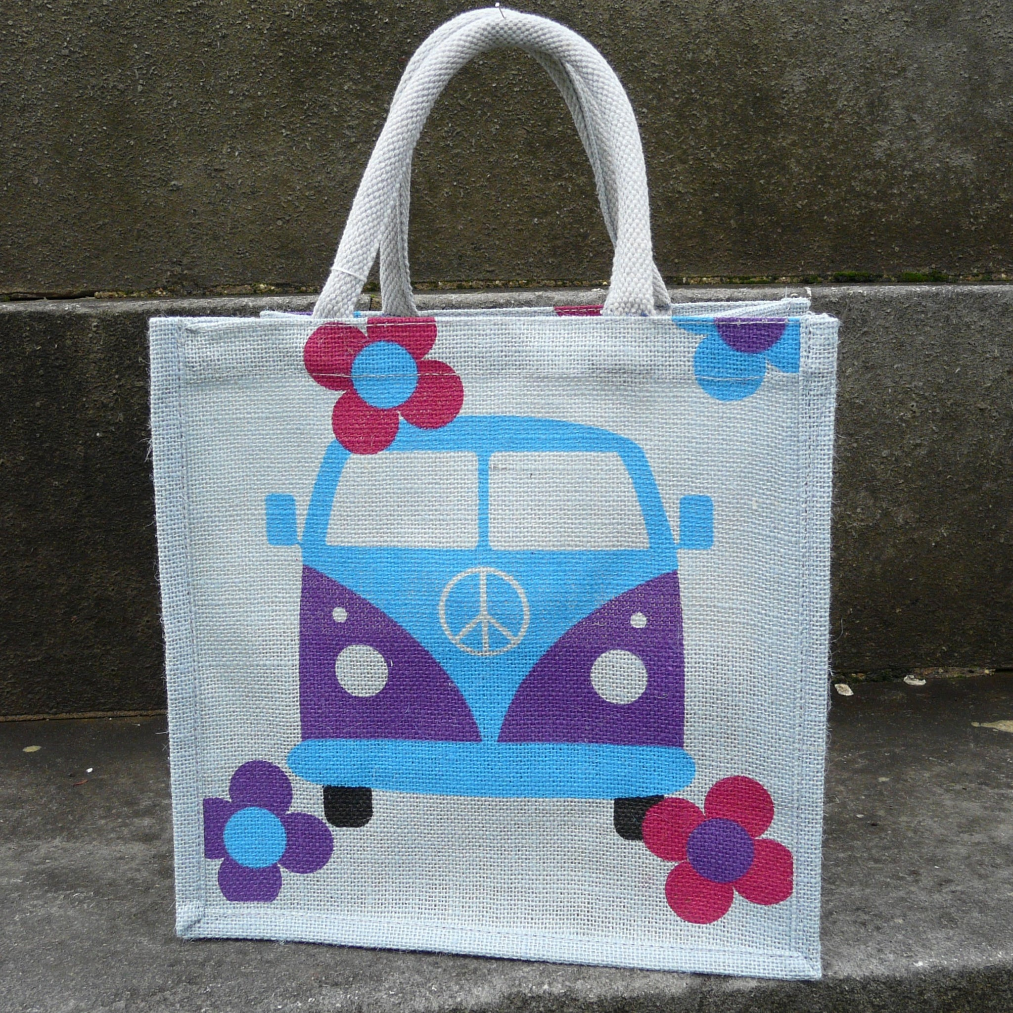 Square Purple Grey Jute Bag with picture of front of blue and purple campervan with 4 flowers