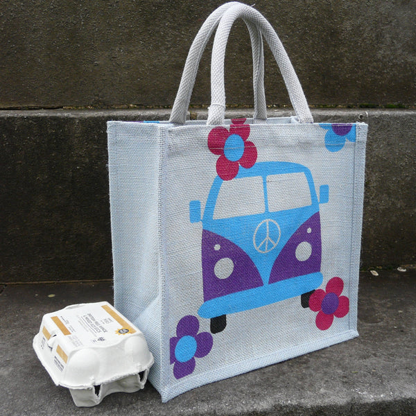 Side view of Square jute bag printed with front view of Campervan with 6 egg box to show depth
