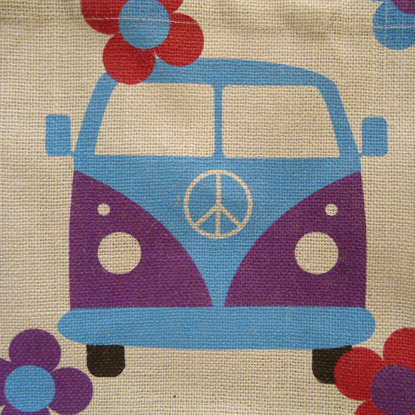 Detail of blue and purple Campervan with CND logo on centre front of van picture on