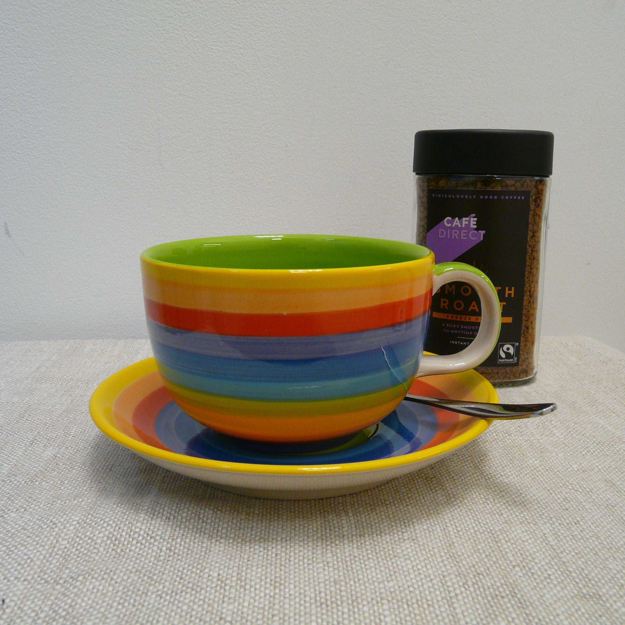 Large Rainbow Cup and Saucer