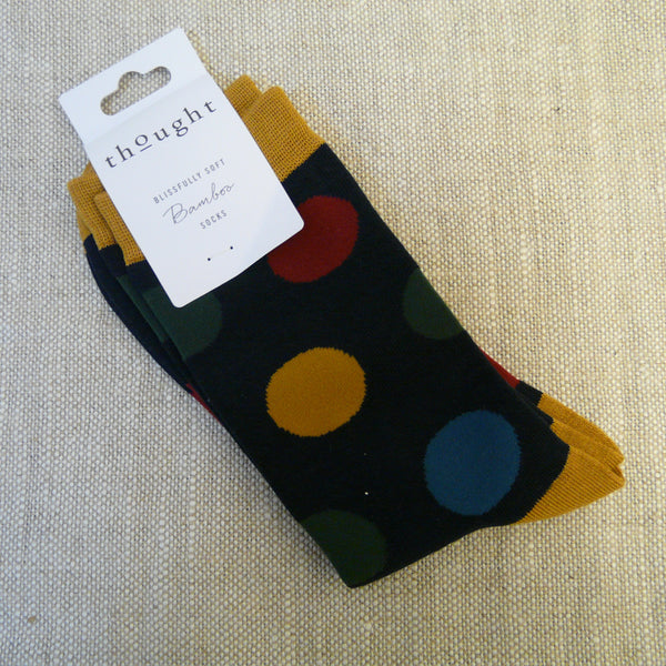 Navy-socks-with-red-blue-green-and-yellow-large-spots-yellow-ochre-heels-toes-and-tops