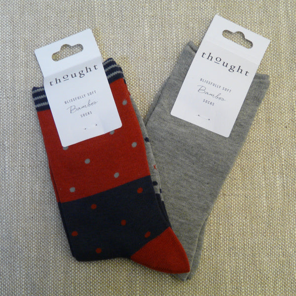 Coral Red Three Colour Block Socks with Spots 4 - 7