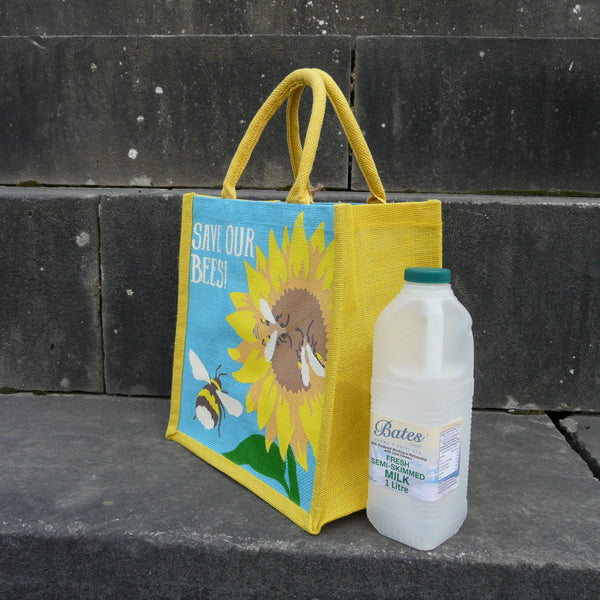 Bees and Sunflower Jute Bag