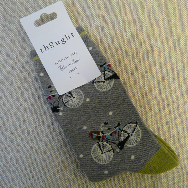 Mid Grey Bicycle and Bunting Socks 4 - 7