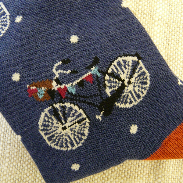 Mineral Blue Bicycle and Bunting Socks 4 - 7