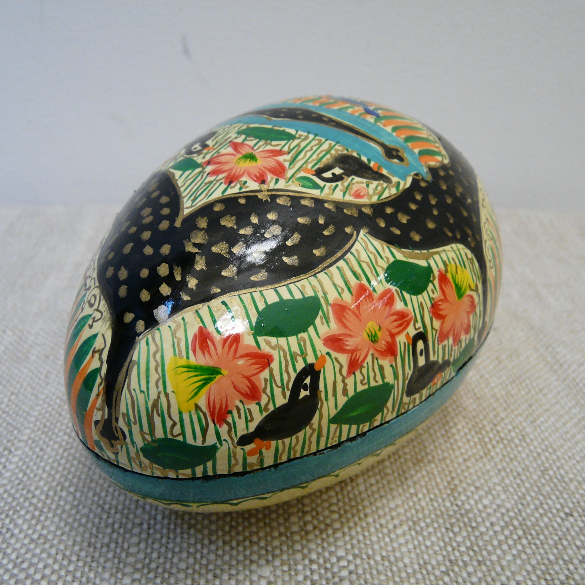 Cream with Black Hand Painted Papier Mache Easter Egg Box