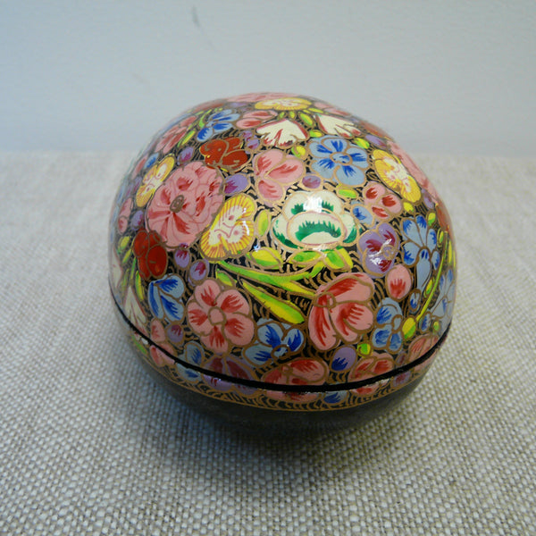 Flowers Hand Painted Papier Mache Easter Egg Box