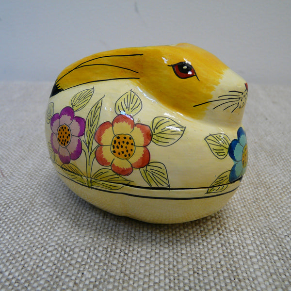 Cream Rabbit with Flowers Hand Painted Papier Mache Box