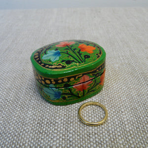 Mid Green Hand Painted Papier Mache Ring Box