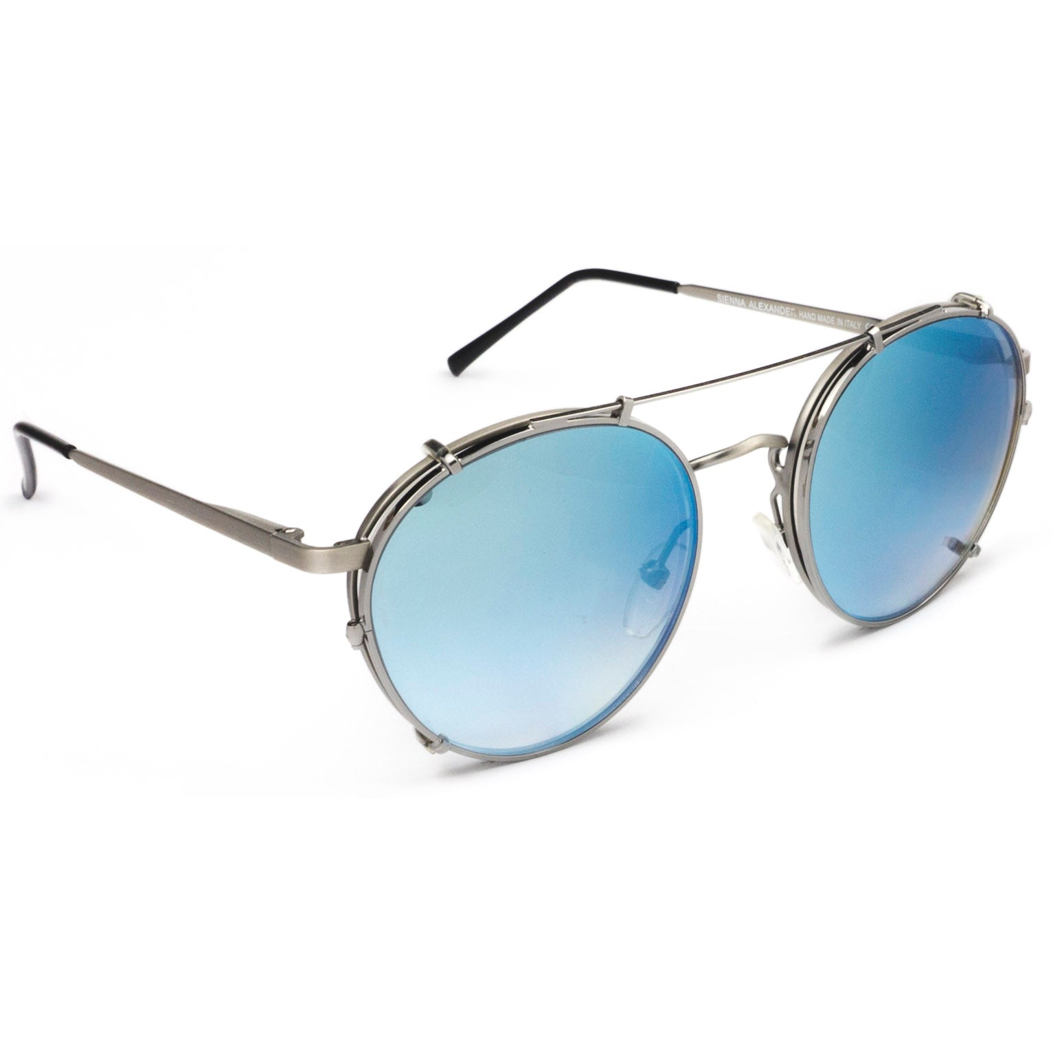 036944b2b4a24 Light Blue aviator style sunglasses with Clip On for women