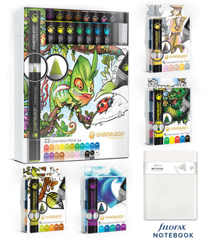 Chameleon Bundle - 22 Pen Deluxe Set, Color Tops and Filofax Notebook