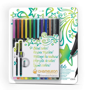 Chameleon Fineliners 12 pack Bright Colors front packaging.