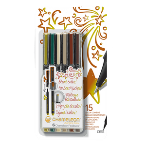 Art Pens - Chameleon Fineliners 6 pack Nature Colors front packaging.