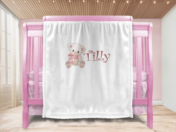 Baby blanket - Bow Bear & Name - MeeM Store