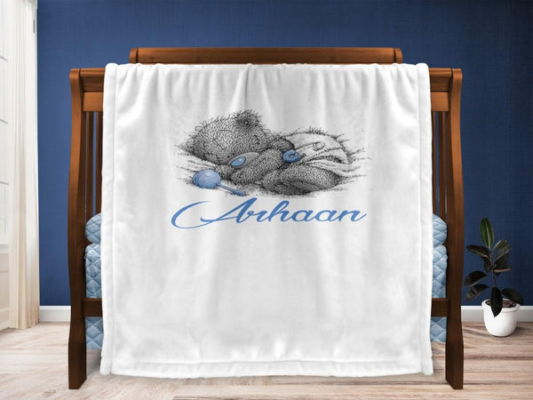 Cot blanket - Teddy & Name
