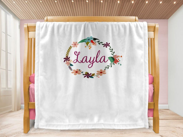 Cot blanket - Wreath & Name - MeeM Store