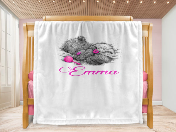 Cot blanket - Teddy & Name - MeeM Store