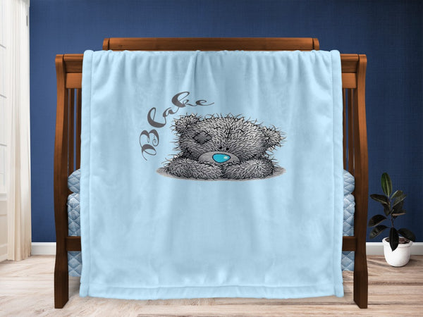 Cot blanket - Sitting Teddy & Name - MeeM Store