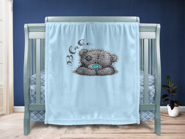 Baby blanket - Sitting Teddy & Name - MeeM Store