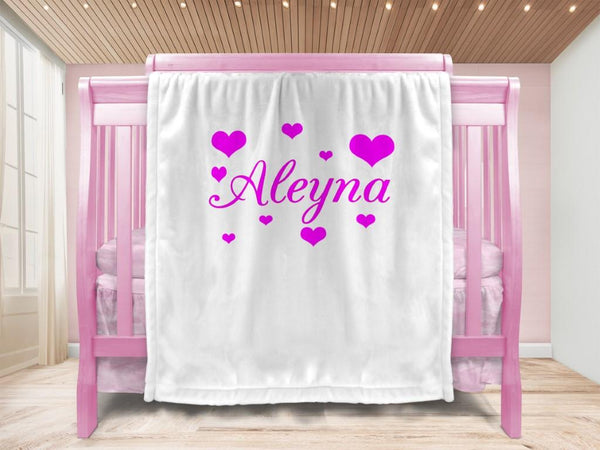 Baby blanket - Hearts & Name - MeeM Store