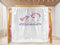 Cot blanket - Unicorn & Name - MeeM Store