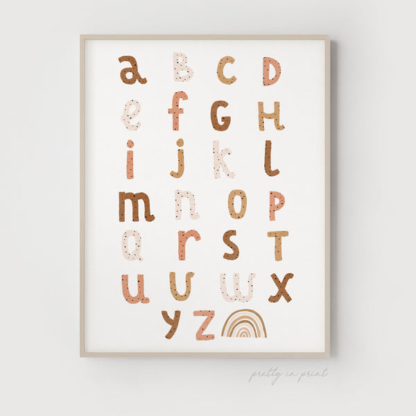 Dotty Alphabet Chart | Rainbow Nursery Decor | Burnt Umber Colours