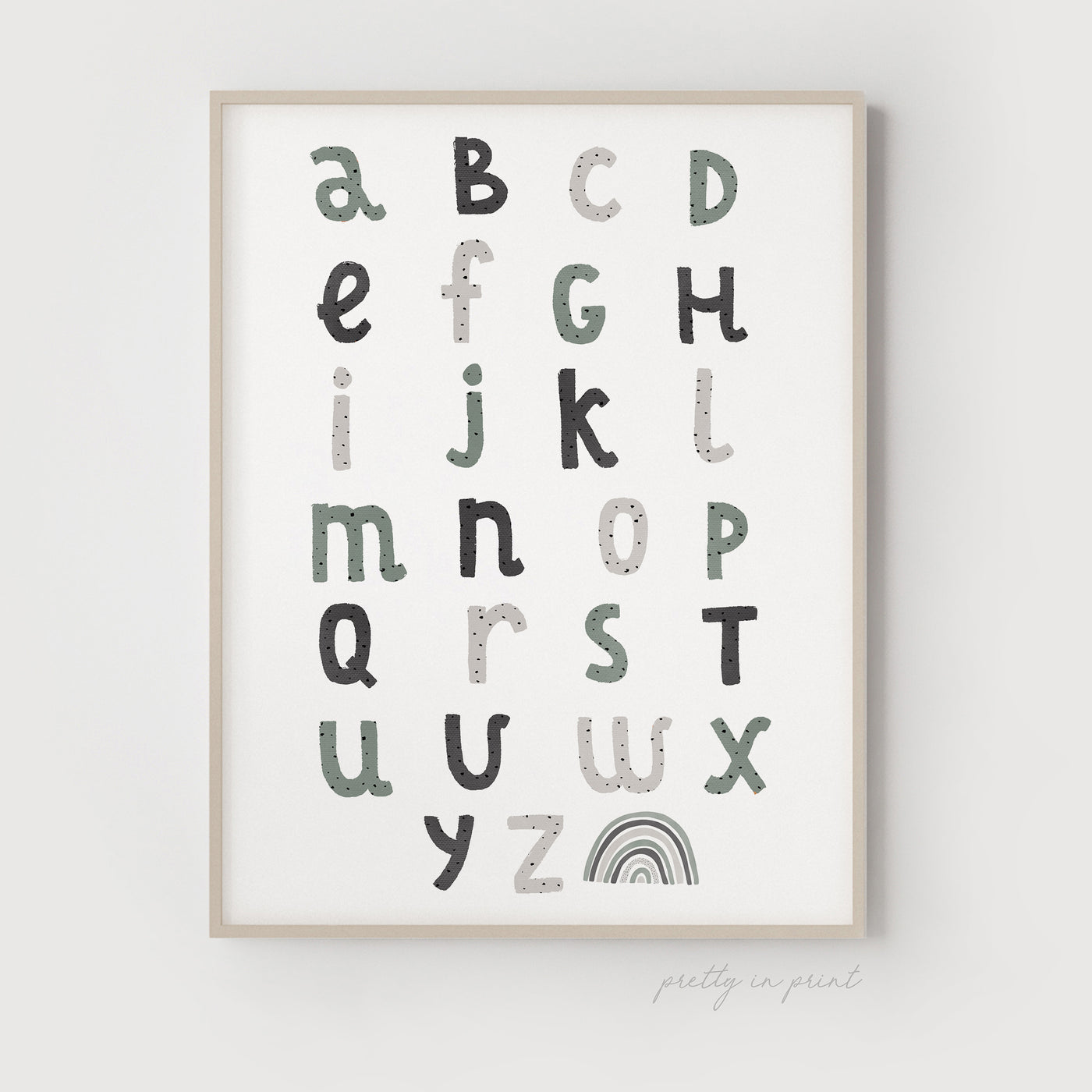 Dotty Alphabet Chart | Rainbow Nursery Decor | Spearmint Colours