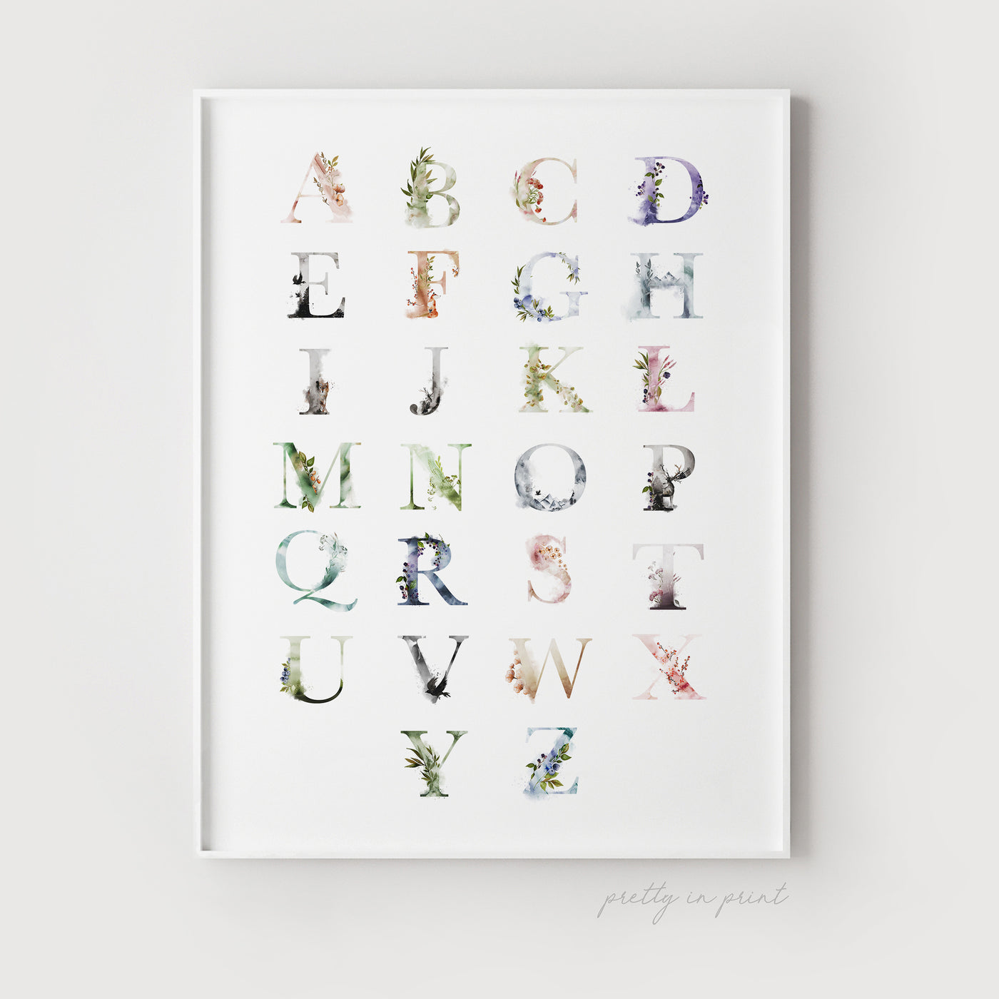 Alphabet Chart - ABC Print - Pretty in Print Art