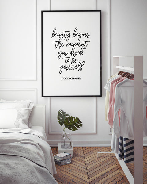Beauty begins the moment you decide to be yourself | Fashion Quote - Pretty in Print Art