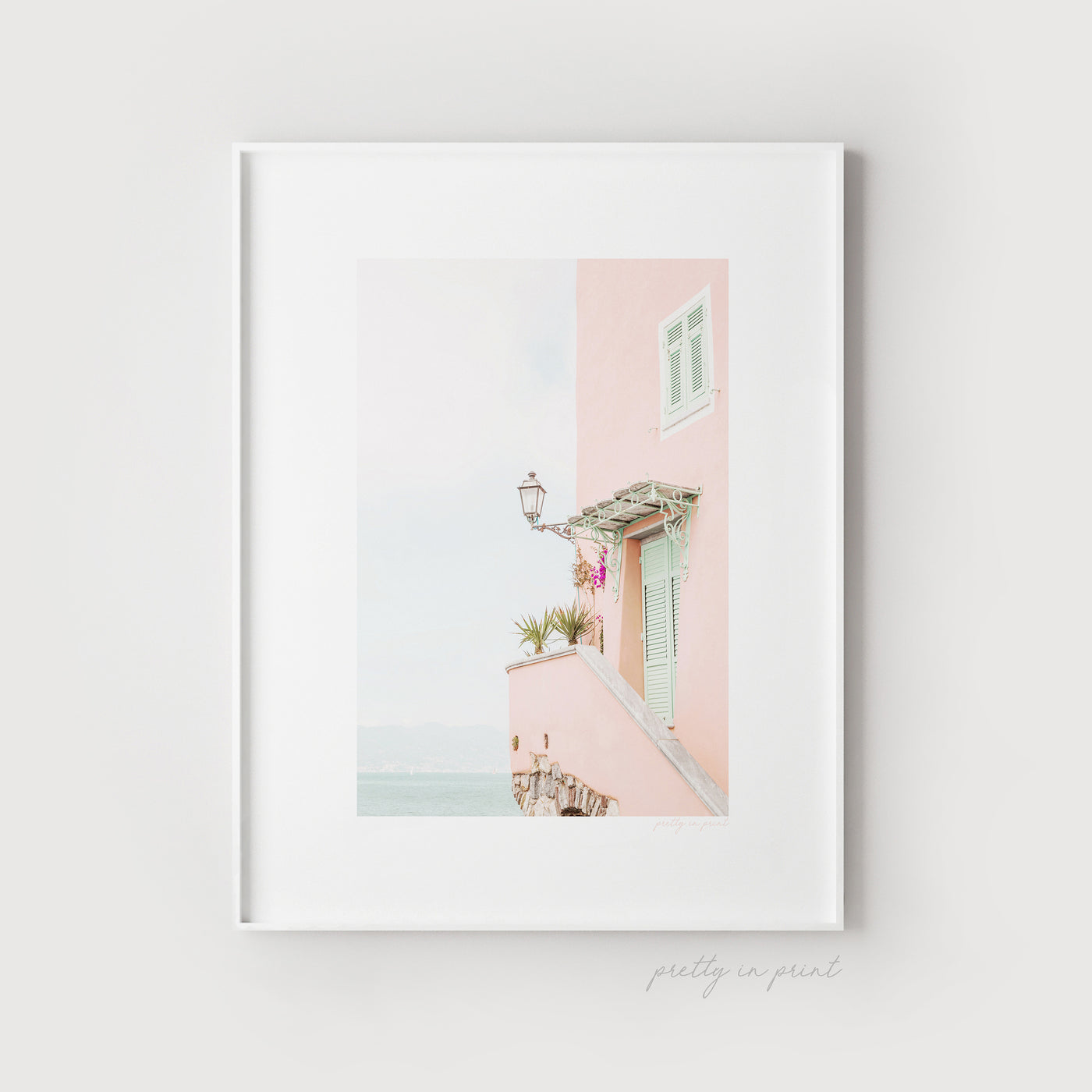 Pink House | Sea View | Wanderlust Travel Poster - Pretty in Print Art