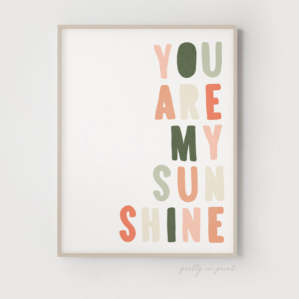 You Are My Sunshine Quote | Nursery Art | Blush & Green | Kids Room Decor