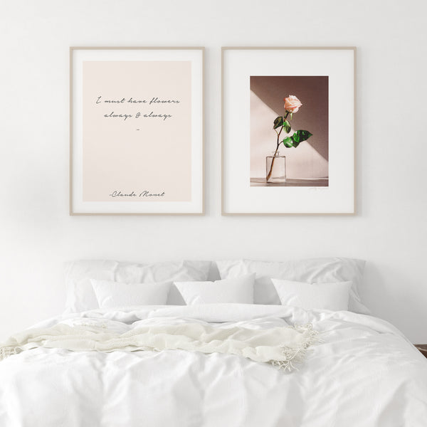 I must have flowers, always and always | Claude Monet Flowers Quote  | Set of Two - Pretty in Print Art