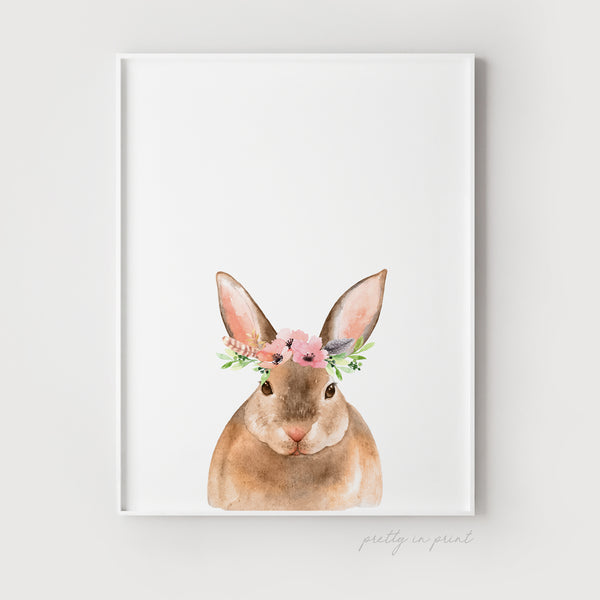 Nursery Rabbit Print - Floral Version - Pretty in Print Art