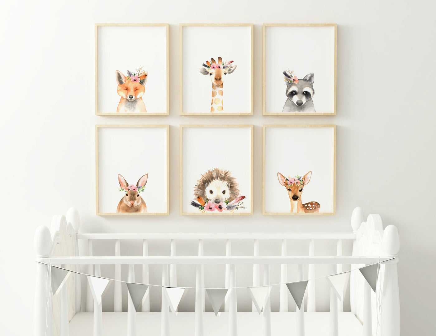 SET OF 6 Floral Animal Prints - Pretty in Print Art