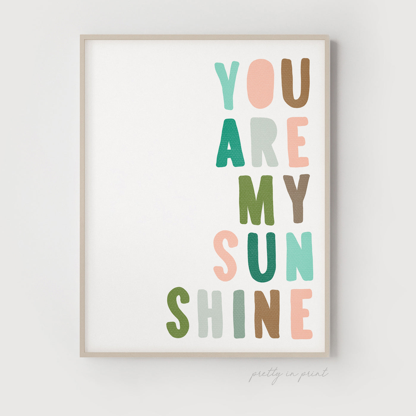 You Are My Sunshine Quote | Nursery Art | Jungle Colours - Pretty in Print Art