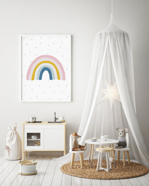 Colourful Rainbow Print | Matches H&M Rainbow Cushion | Rainbow Nursery Decor