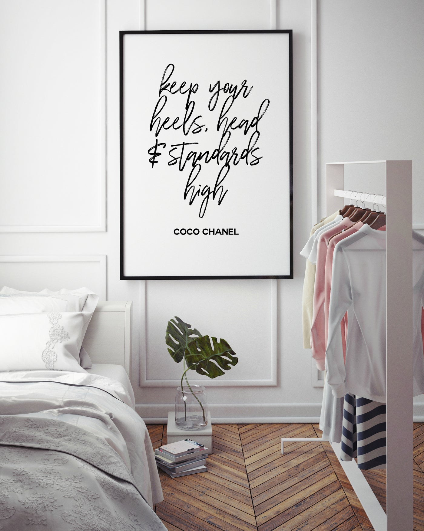 Keep your heels head and standards high | Fashion Quote - Pretty in Print Art