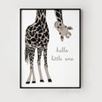 Hello Little One Giraffe Print - With Muted Colours (Full Giraffe) - Pretty in Print Art