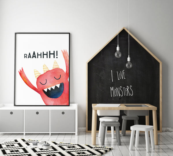 Monster Wall Art - RaahH! (One Print Only) - Pretty in Print Art