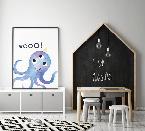 Monster Wall Art - Wooo! (One Print Only) - Pretty in Print Art